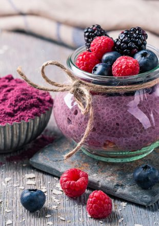Chia seeds acai pudding with berries